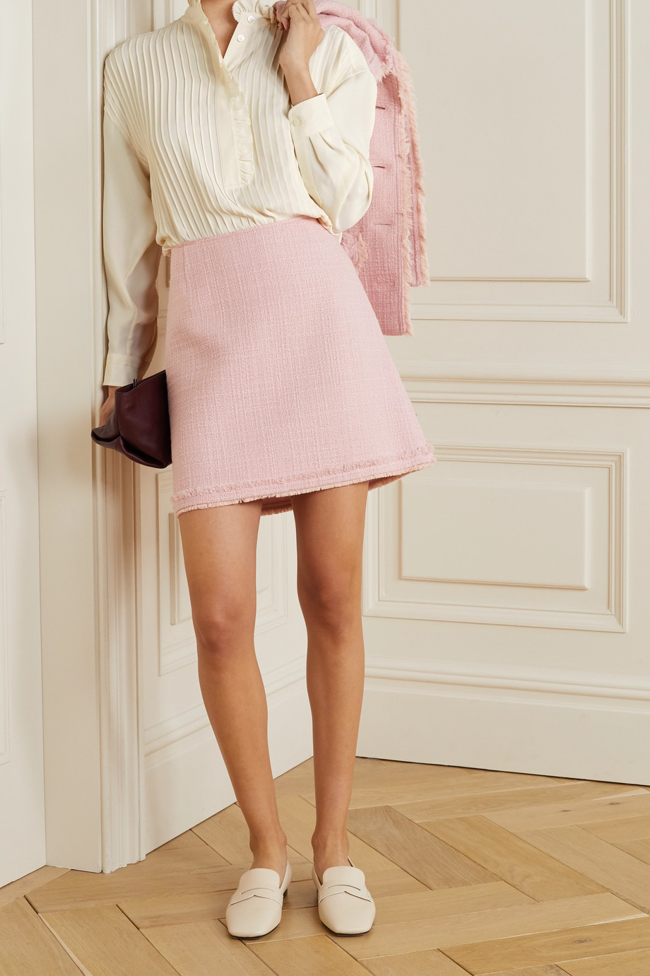 TORY BURCH Deneuve ruffled pleated crepe de chine blouse