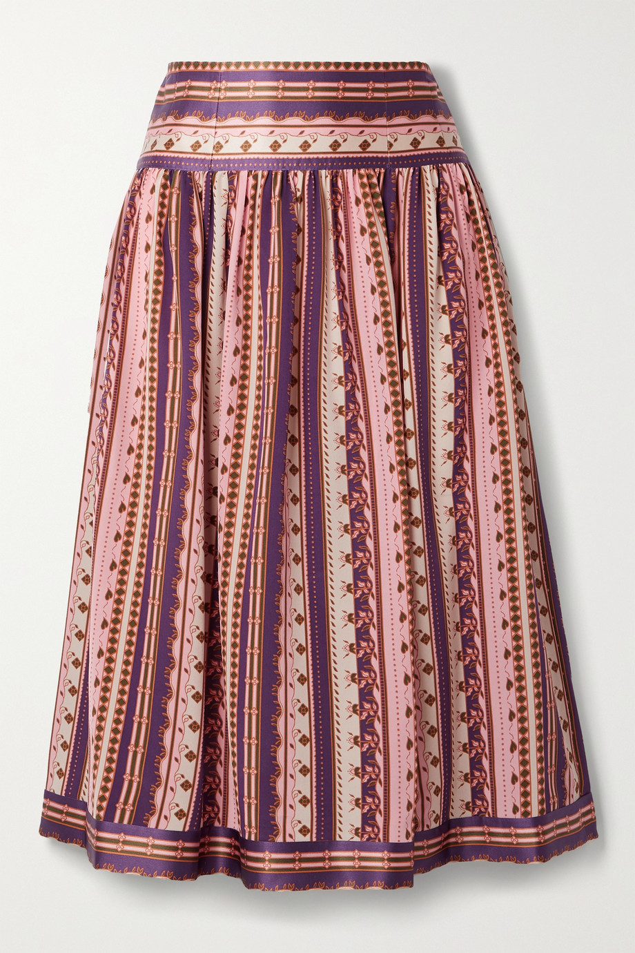 TORY BURCH Satin-trimmed pleated printed silk crepe de chine midi skirt