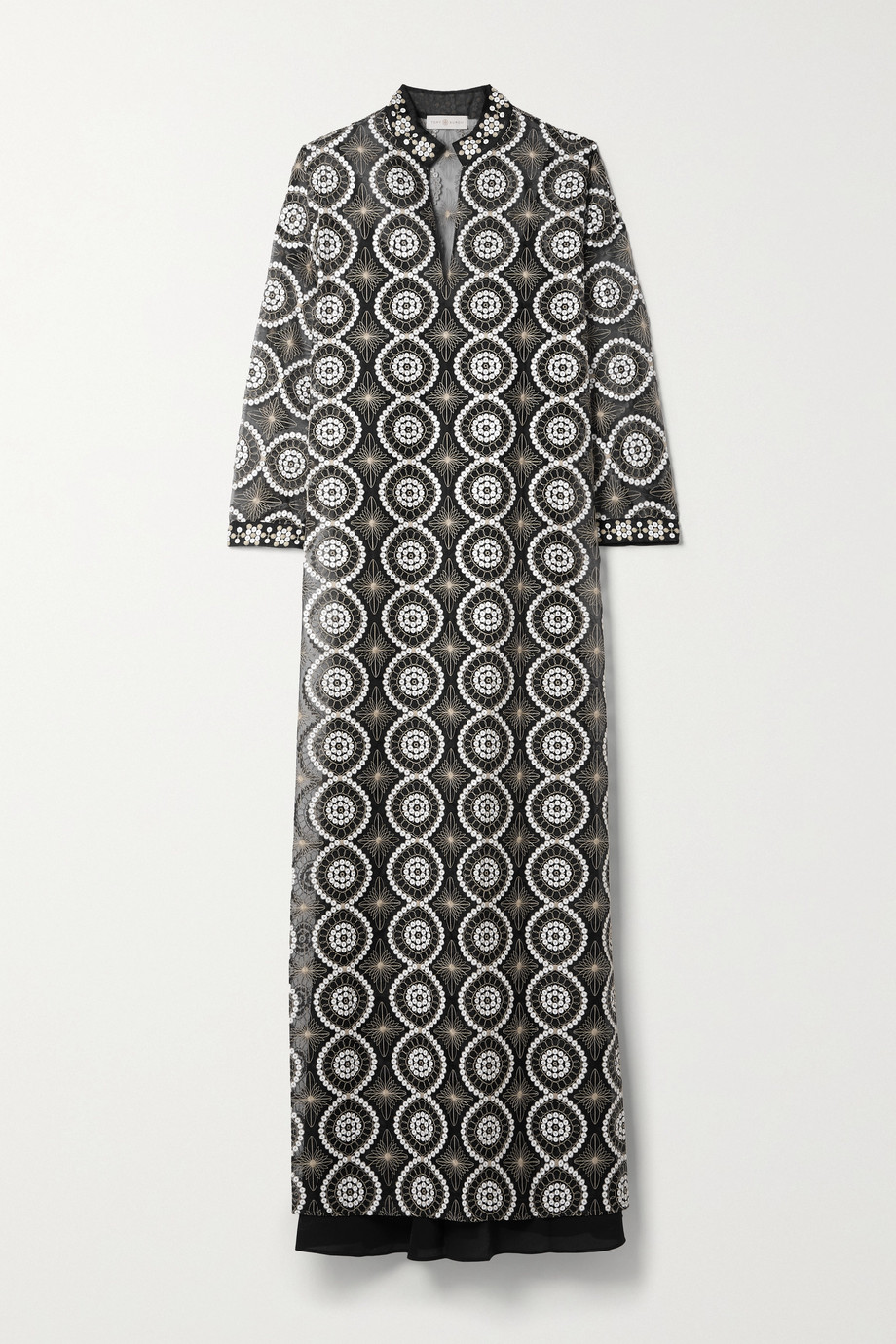 TORY BURCH Embellished satin-trimmed organza maxi dress