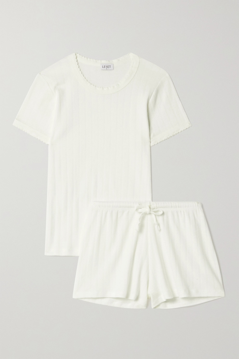 LESET Pointelle-knit cotton-jersey pajama set
