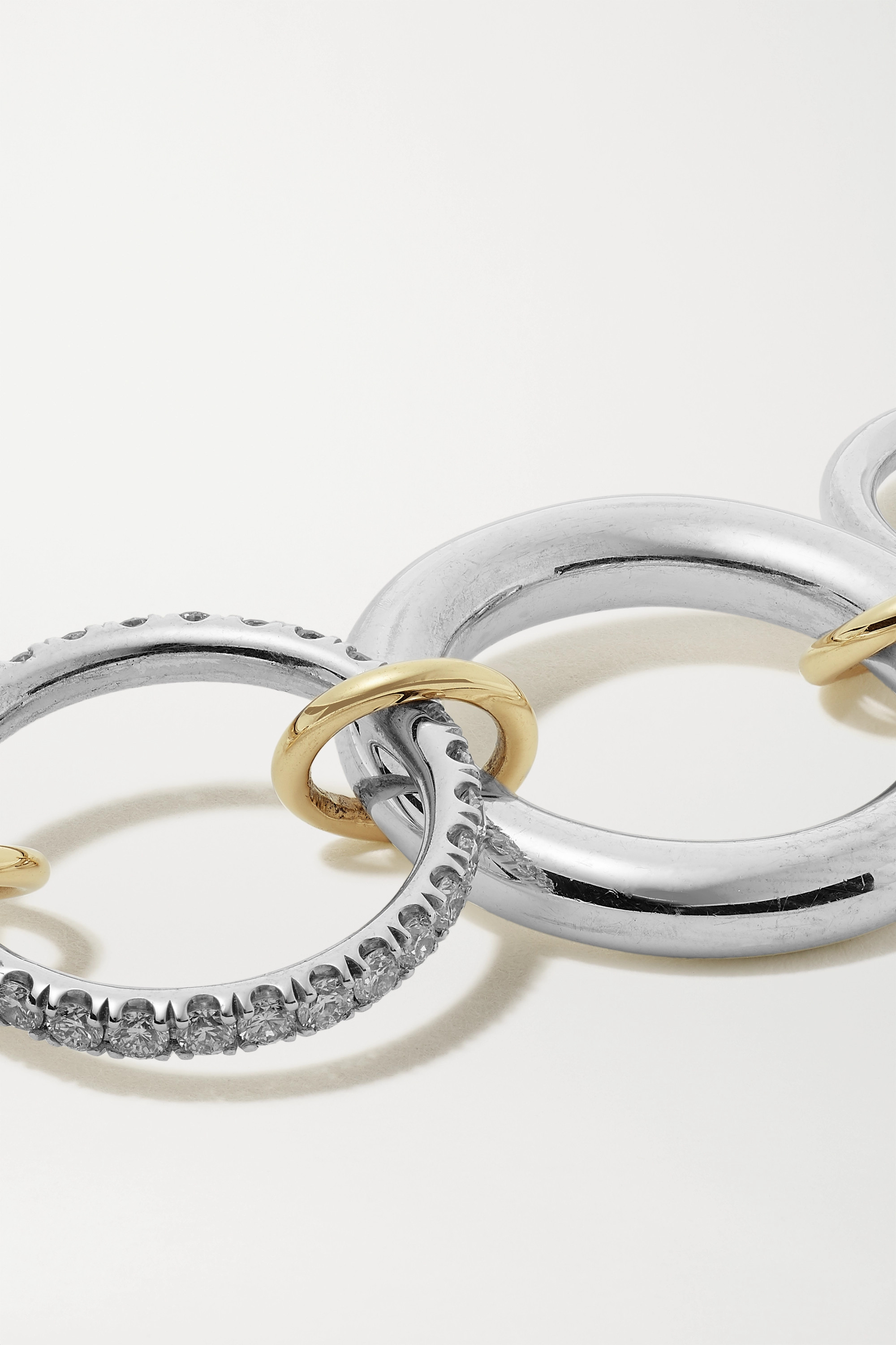 SPINELLI KILCOLLIN Luna set of four sterling silver and 18-karat gold diamond rings