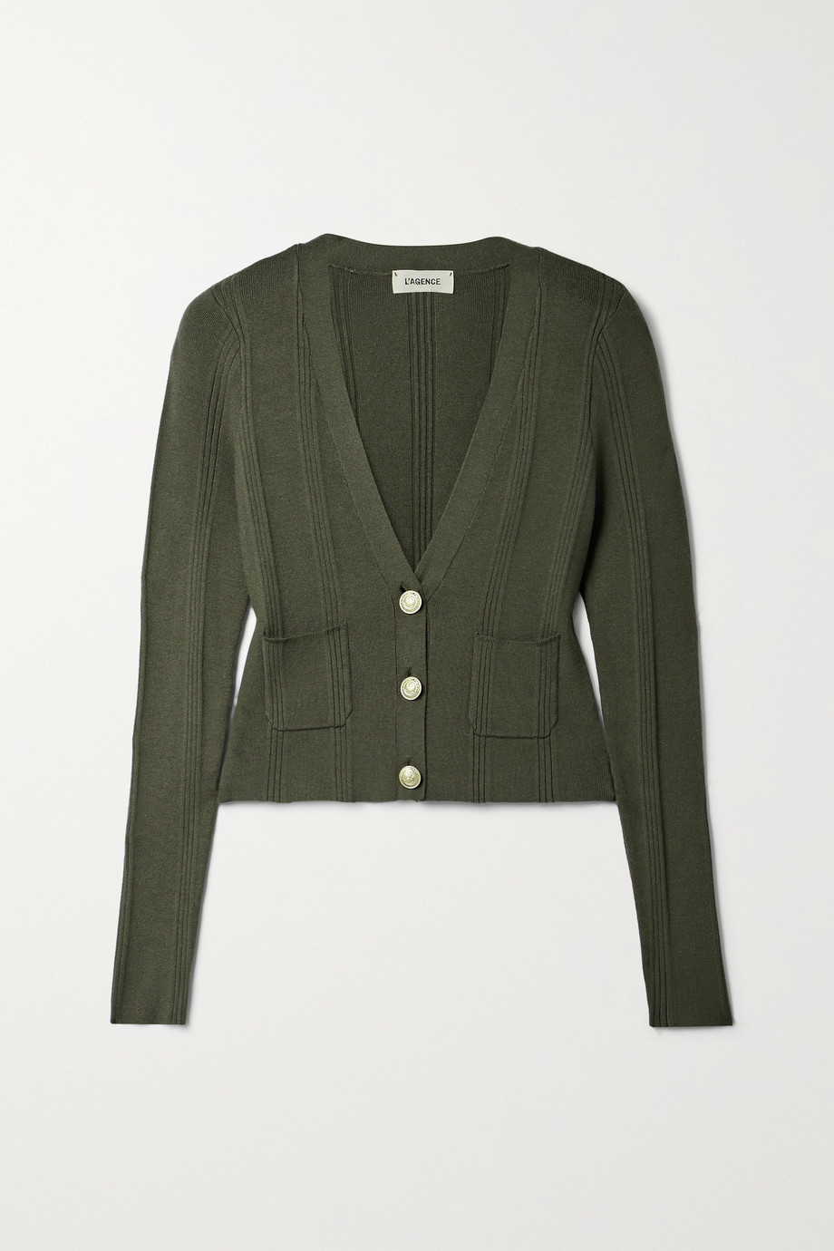 L'AGENCE Jamie ribbed-knit cardigan