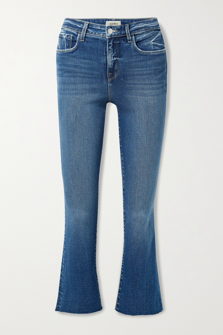 L'AGENCE Kendra cropped distressed high-rise flared jeans