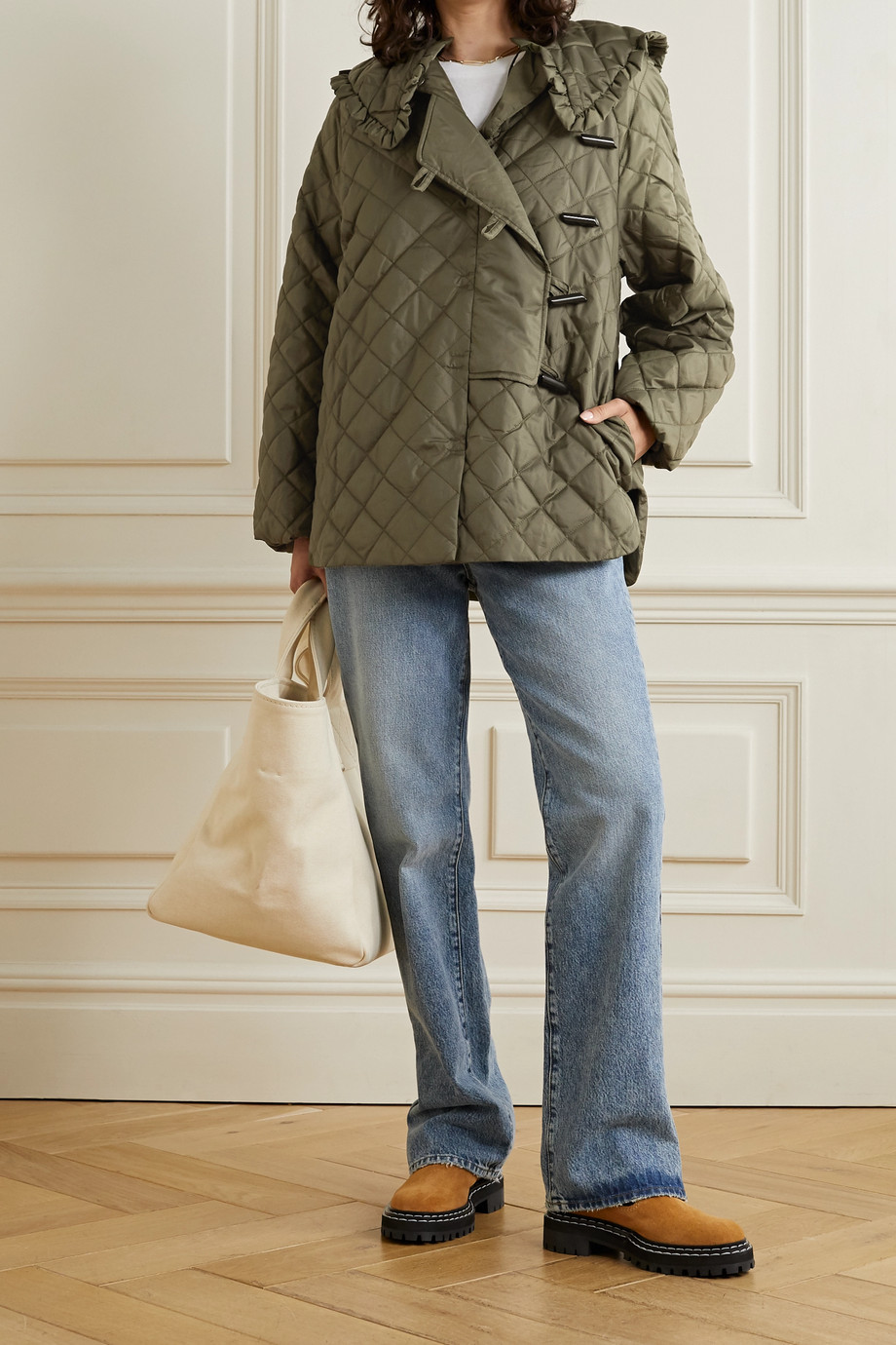 GANNI Quilted recycled ripstop jacket