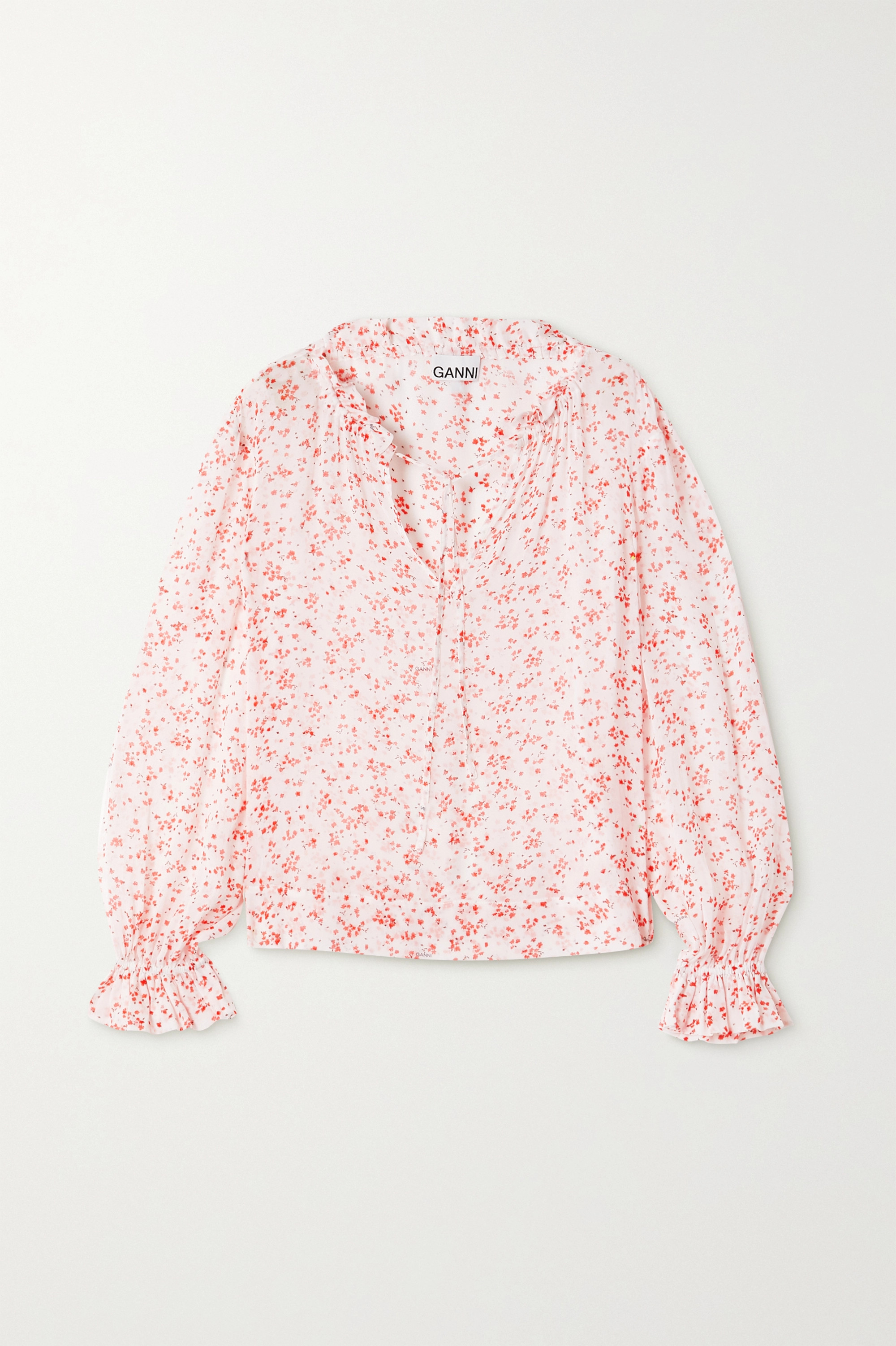 GANNI Ruffled floral-print georgette blouse