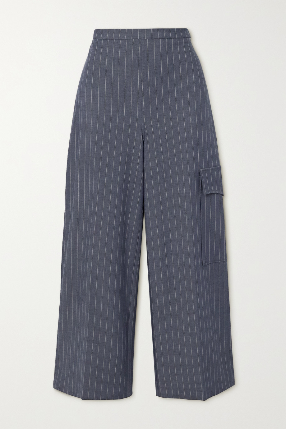 GANNI Pinstriped twill wide-leg pants