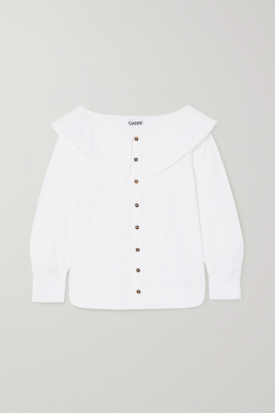 GANNI Ruffled organic cotton-poplin blouse