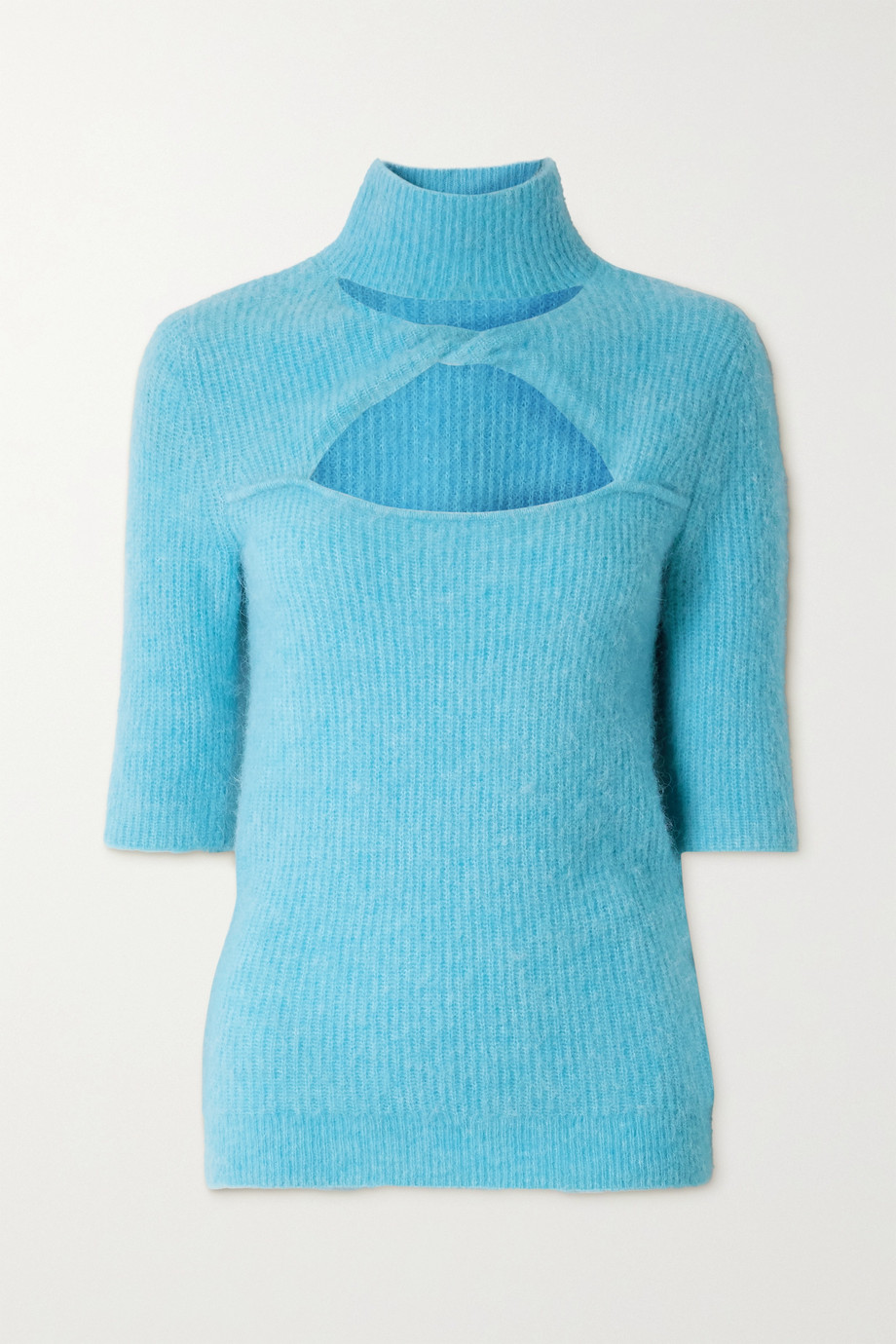 GANNI Cutout twist-front ribbed-knit sweater