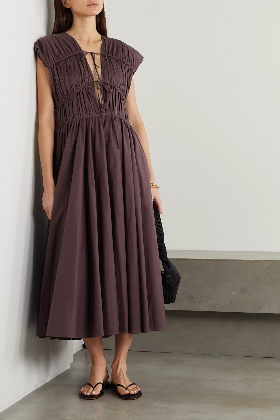 TOVE Ceres tie-detailed gathered organic cotton dress