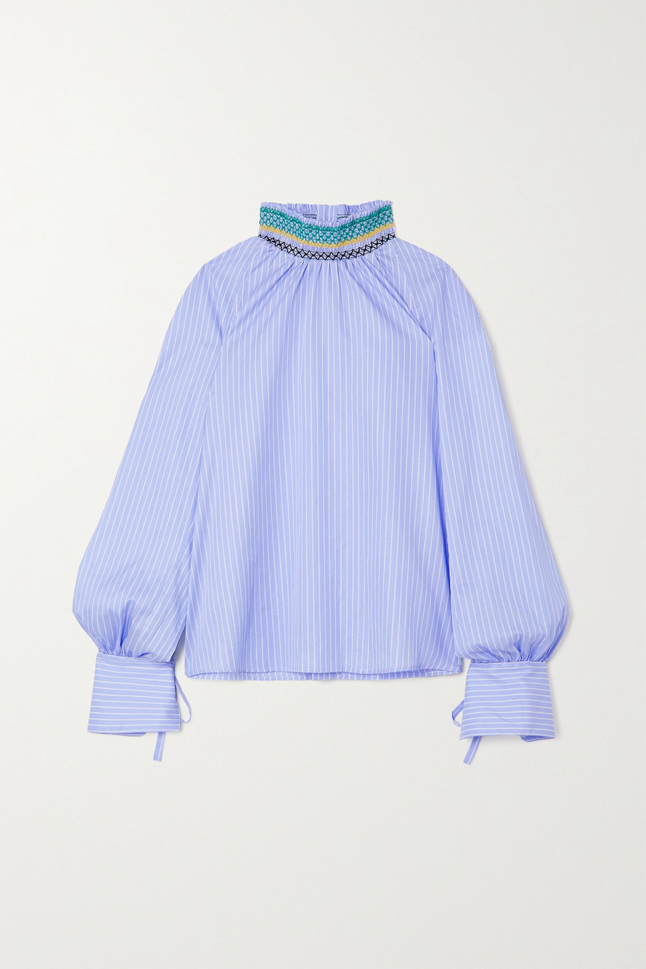 WALES BONNER Palms smocked pinstriped cotton blouse