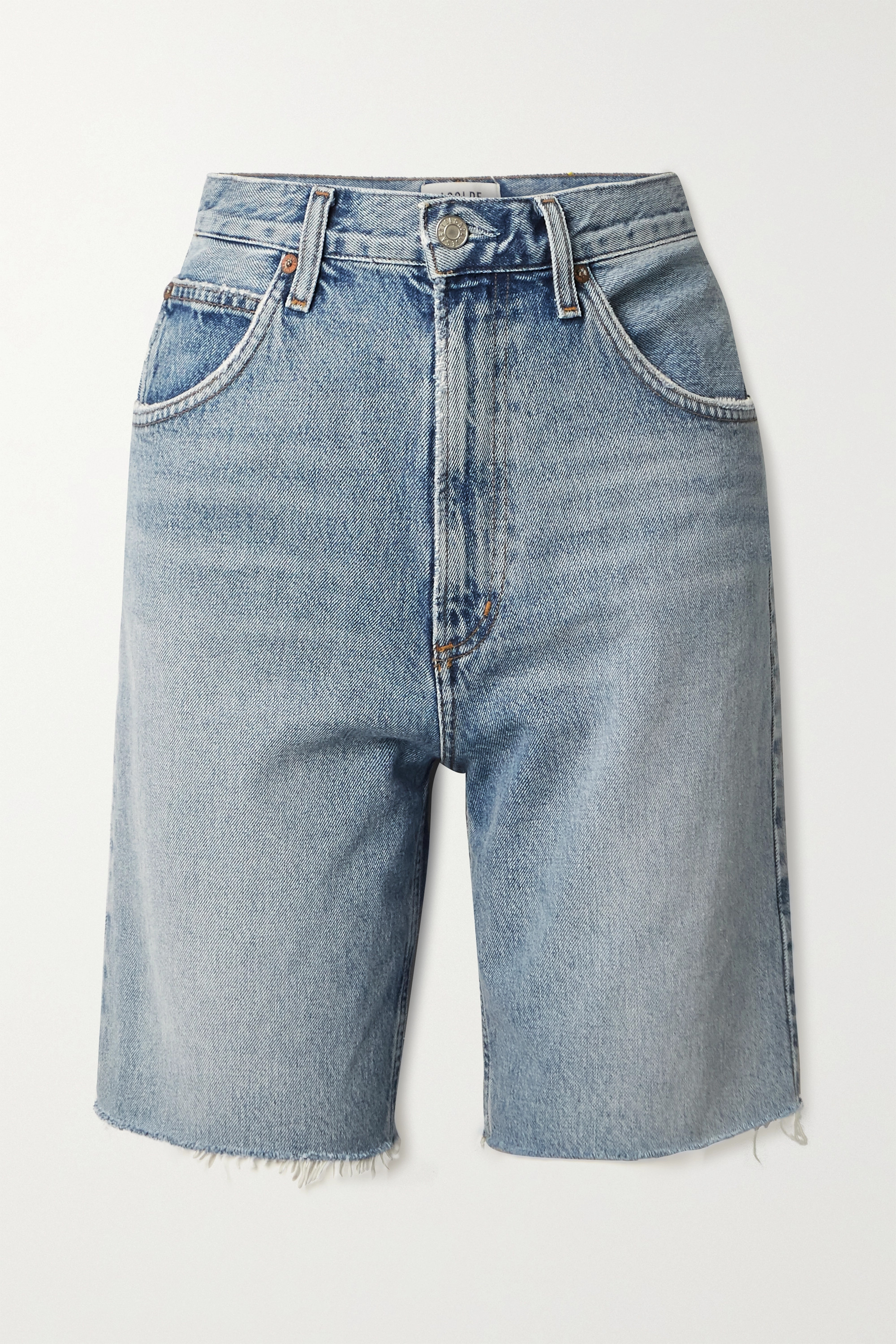 AGOLDE + NET SUSTAIN Pinch distressed organic denim shorts