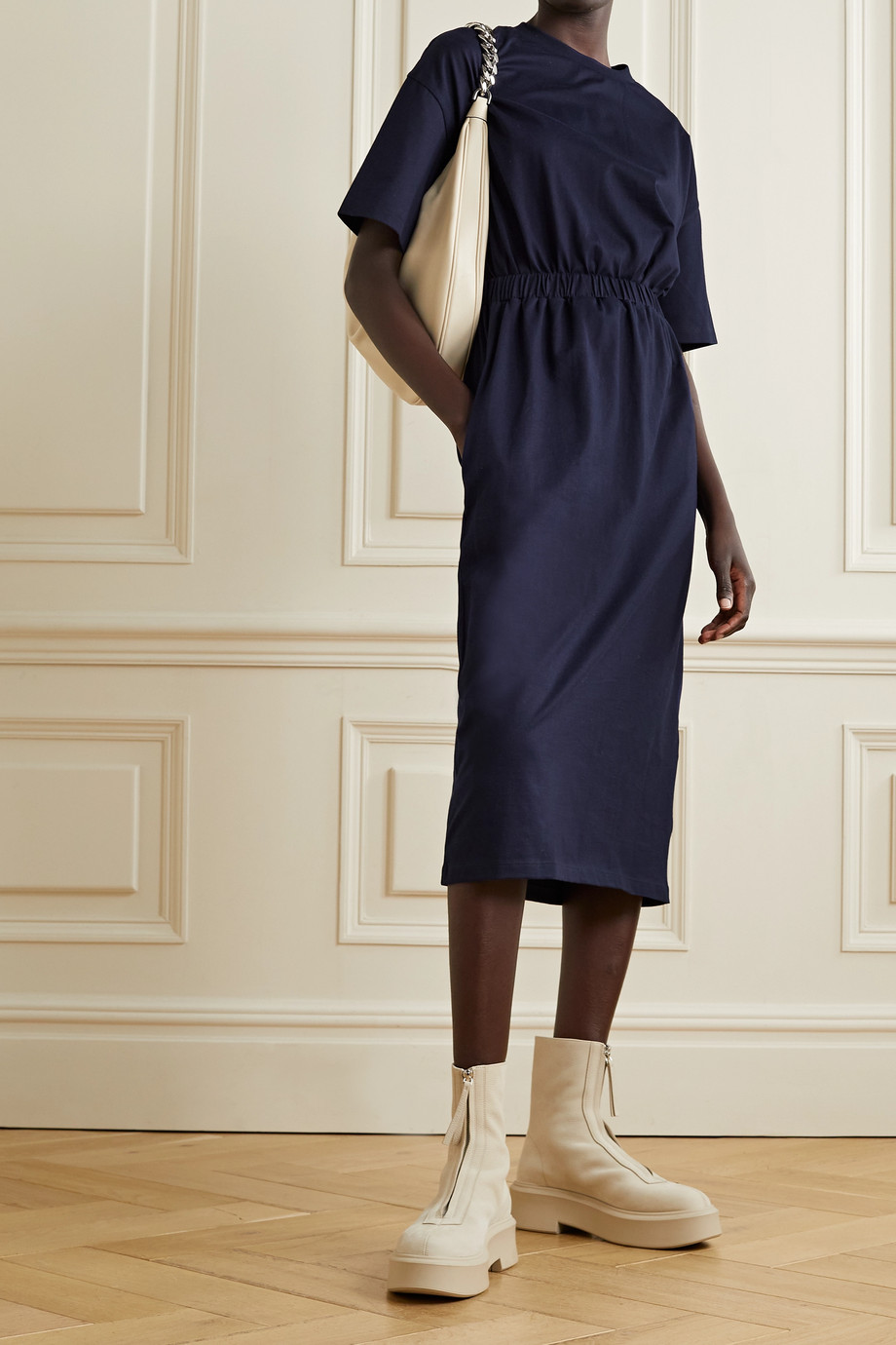 NINETY PERCENT + NET SUSTAIN gathered organic cotton-jersey midi dress