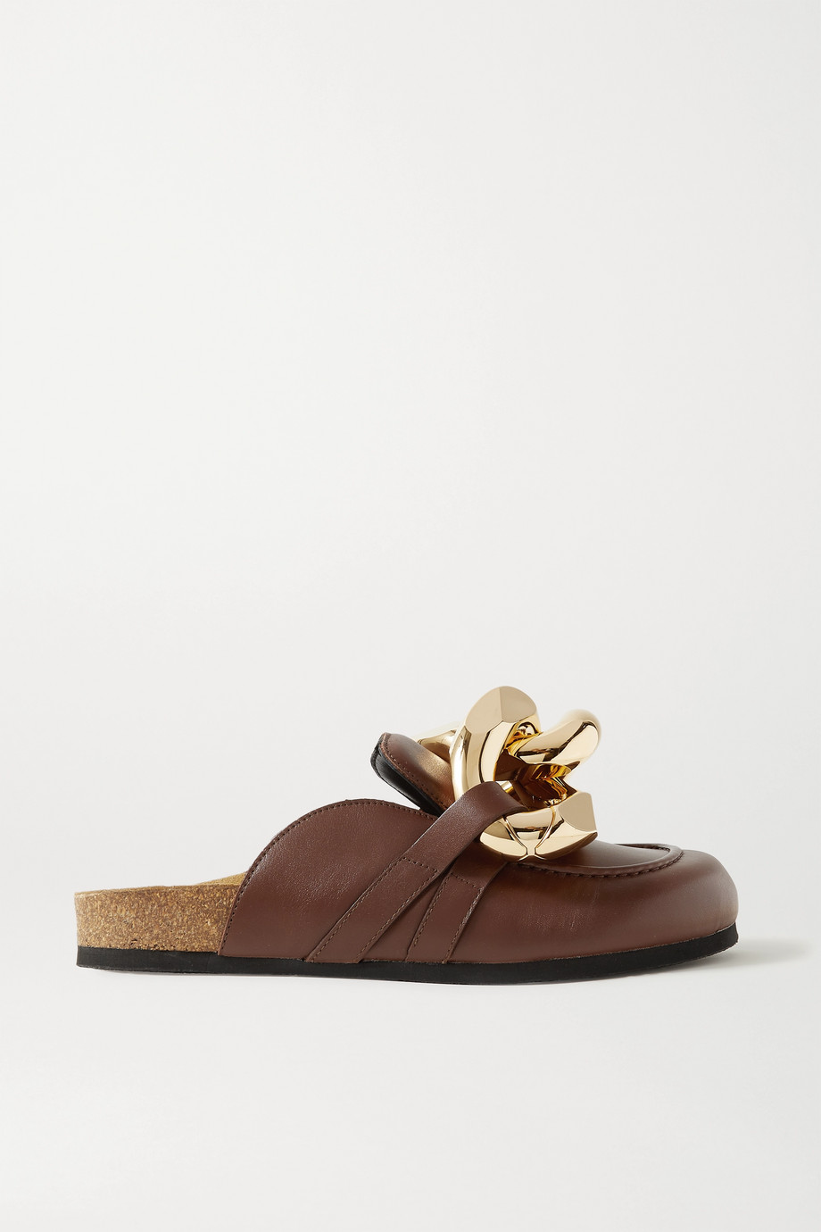 JW ANDERSON Chain-embellished leather slippers
