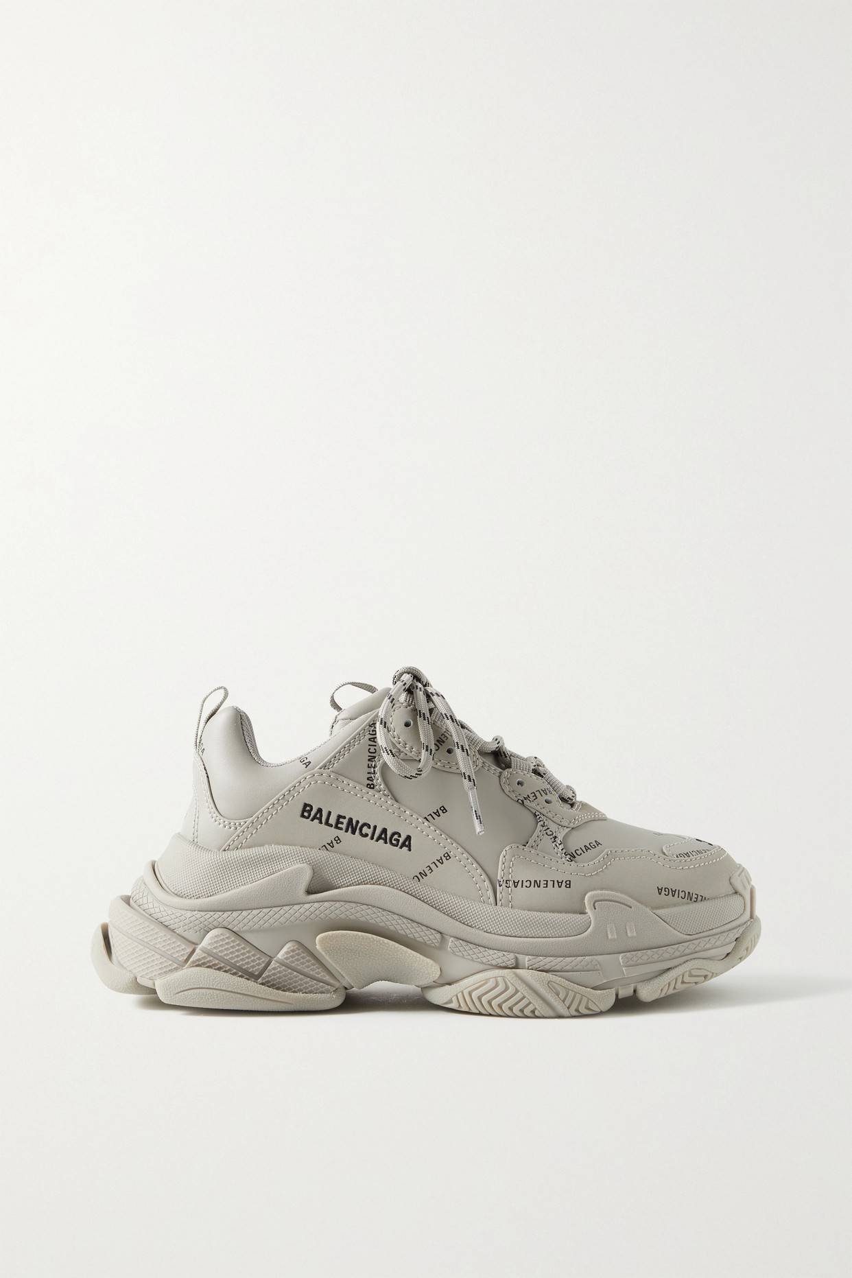 Balenciaga Triple S Logo-print Embroidered Leather, Nubuck And Mesh Sneakers In Neutrals