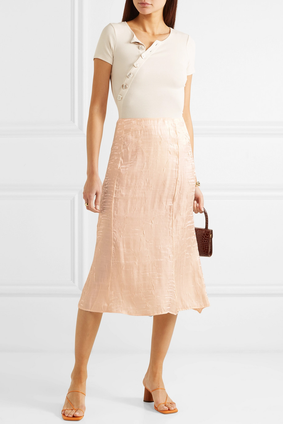 THE LINE BY K Grace crinkled-satin midi skirt