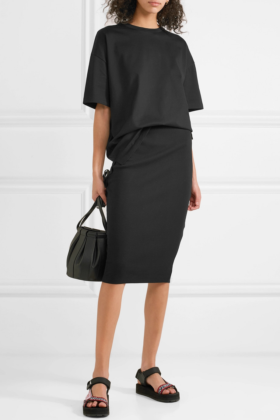 NINETY PERCENT Ribbed organic cotton-blend jersey midi skirt