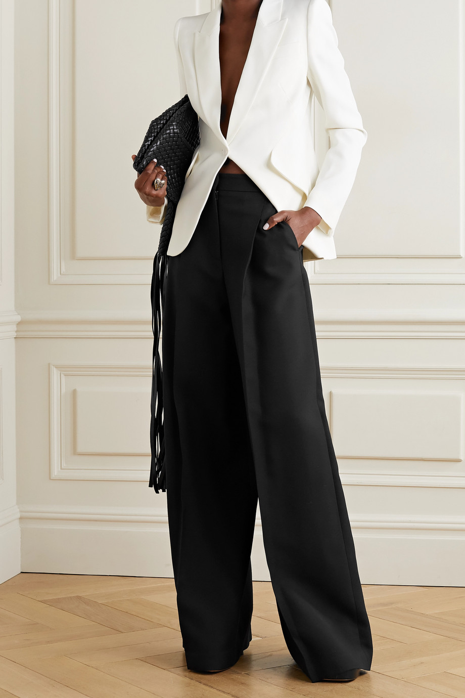ALEXANDER MCQUEEN Pleated crepe wide-leg pants