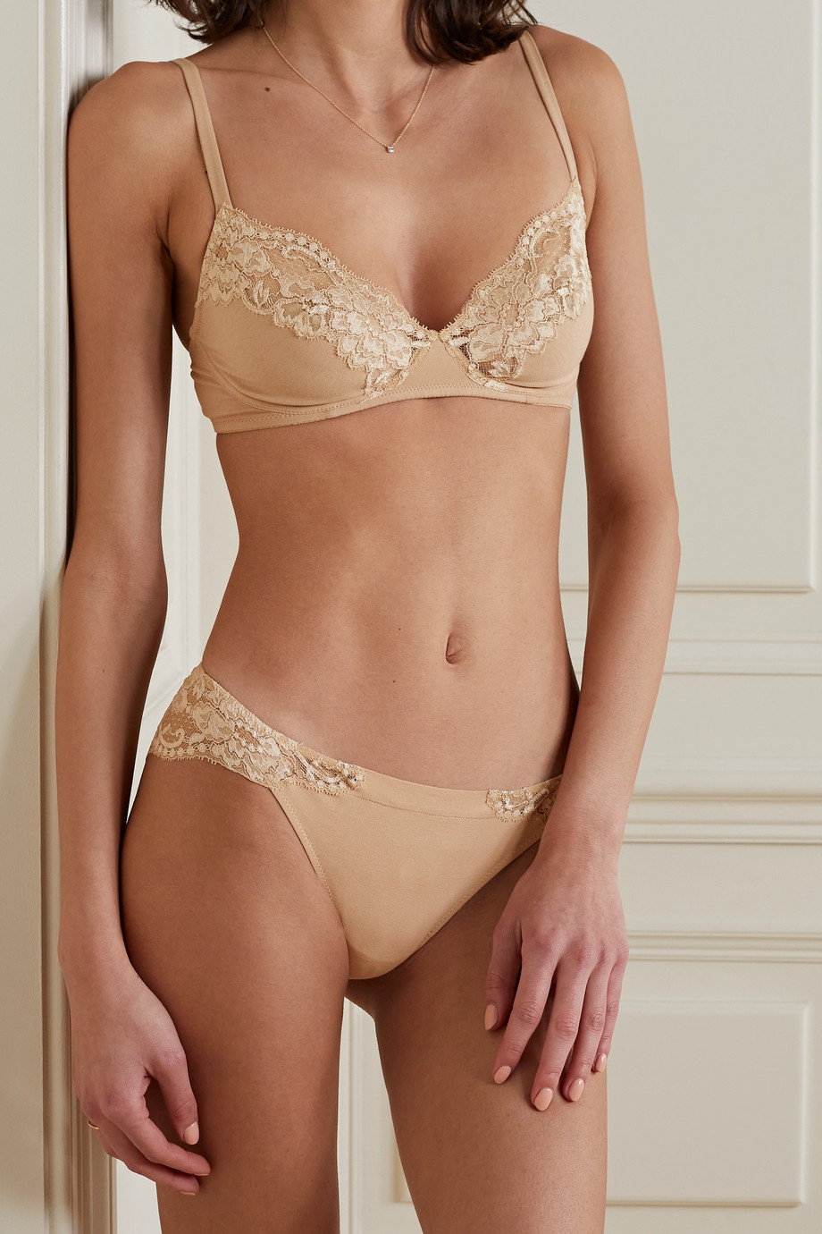 LA PERLA Souple lace and stretch cotton-blend jersey soft-cup bra