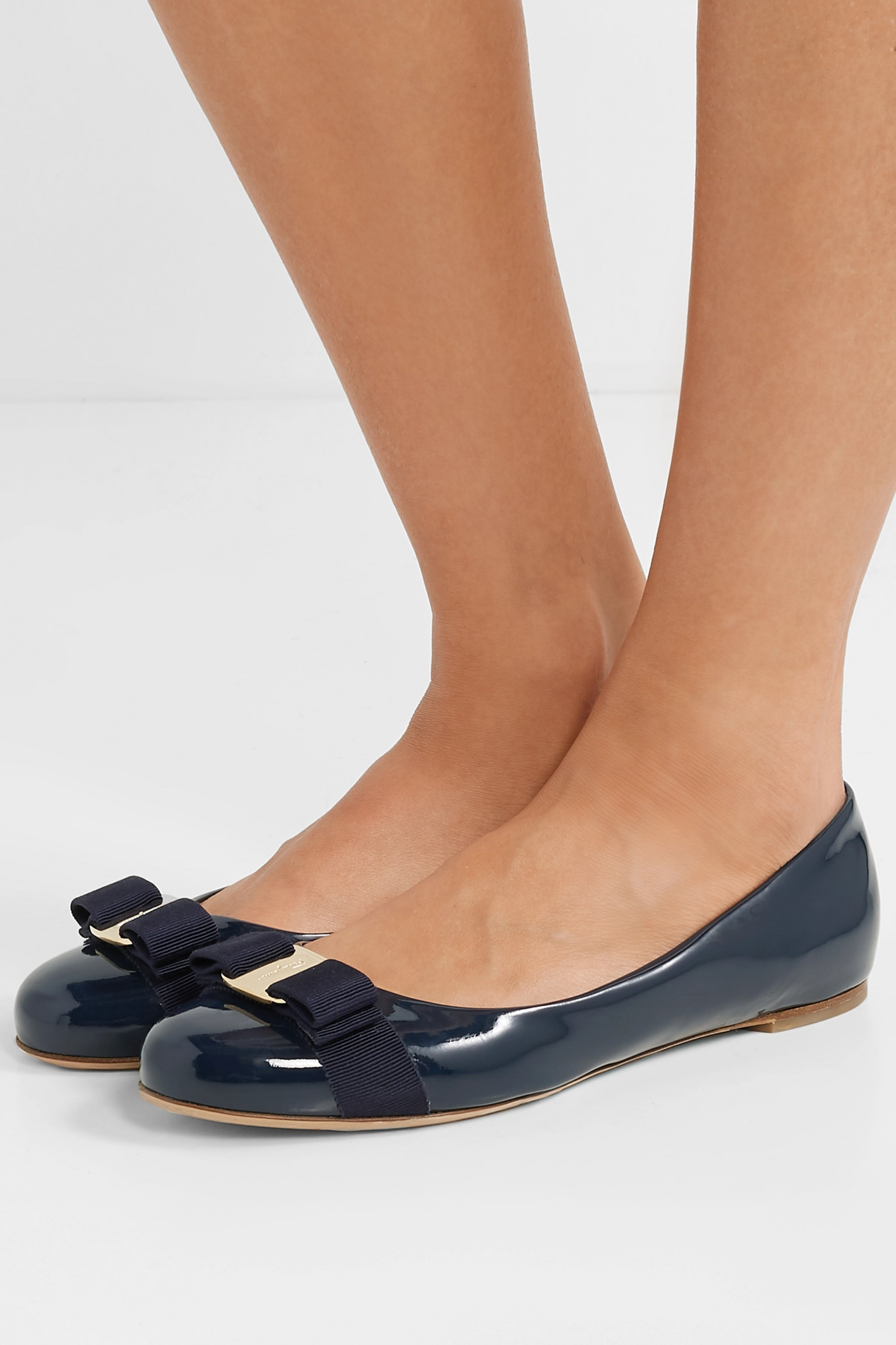 SALVATORE FERRAGAMO Varina bow-embellished patent-leather ballet flats