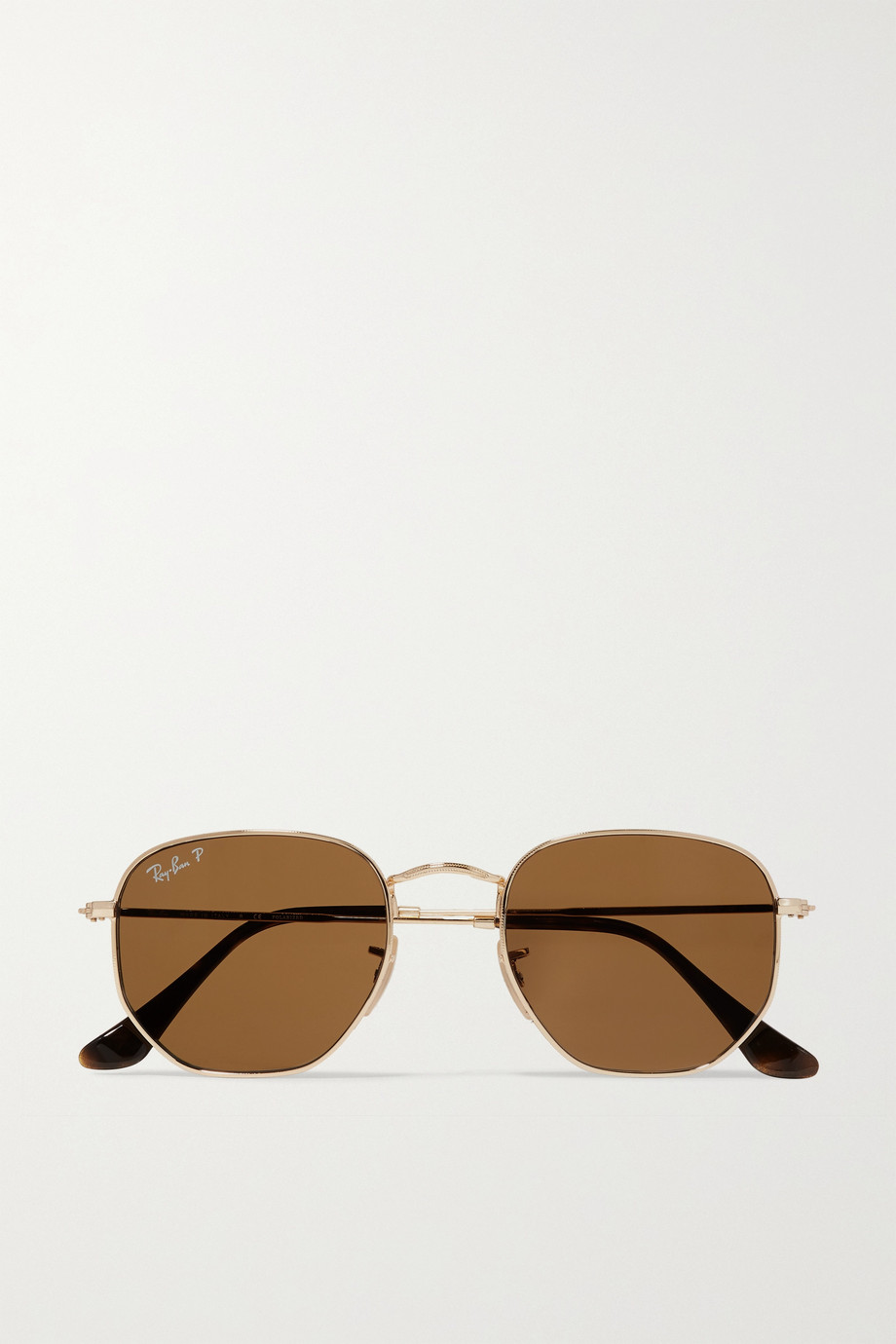 RAY-BAN Hexagon-frame polarized gold-tone sunglasses
