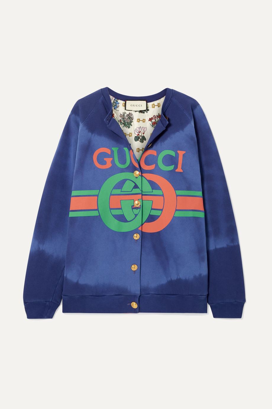 Gucci Printed tie-dyed cotton-jersey cardigan