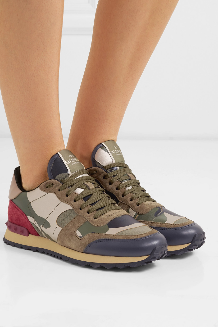 VALENTINO Valentino Garavani Rockrunner leather and suede-trimmed camouflage-print canvas sneakers