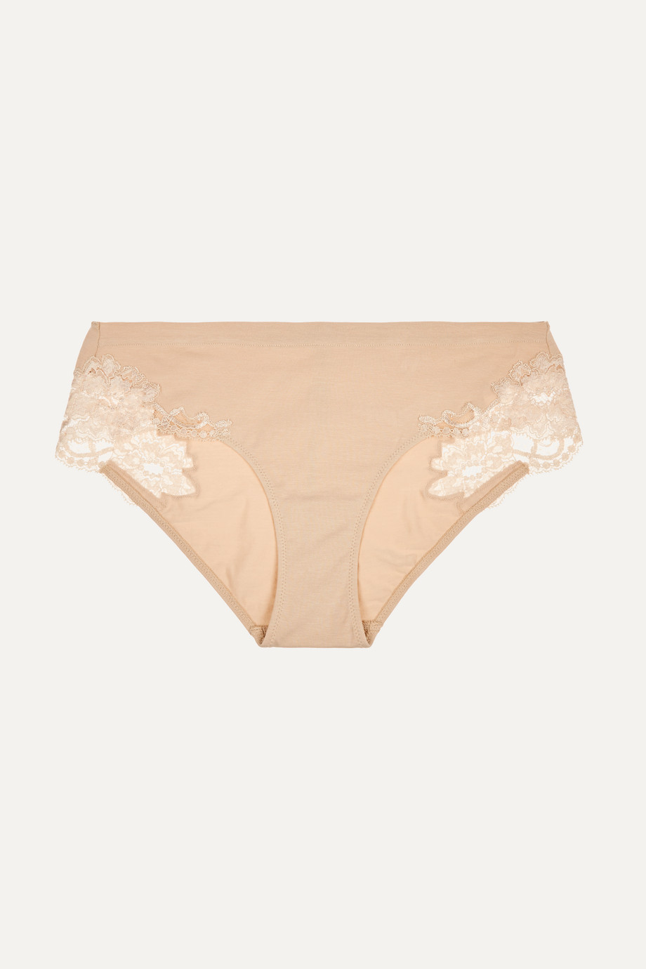 LA PERLA Souple lace-trimmed stretch cotton-blend jersey briefs