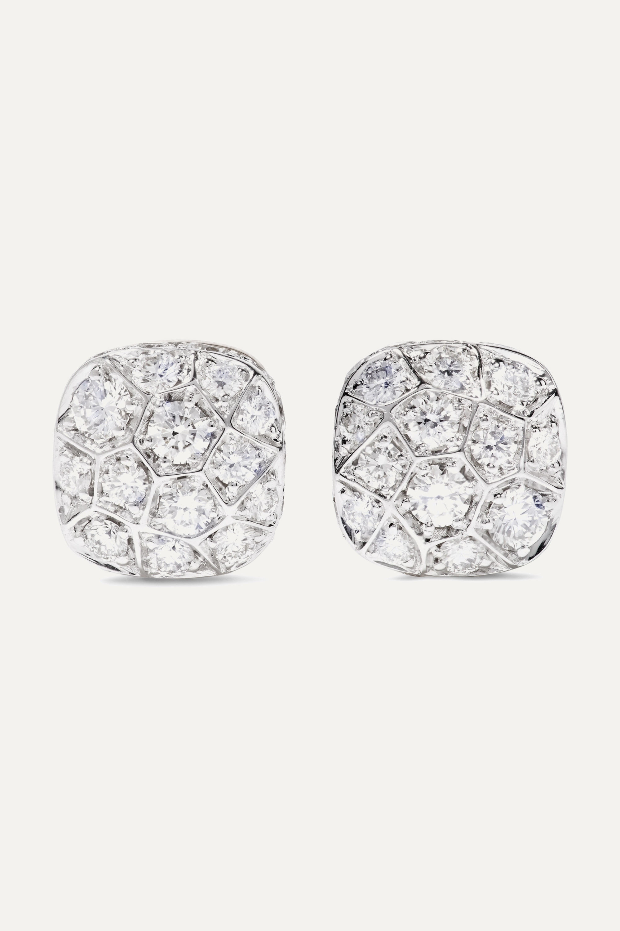 POMELLATO Nudo Solitaire 18-karat rose and white gold diamond earrings