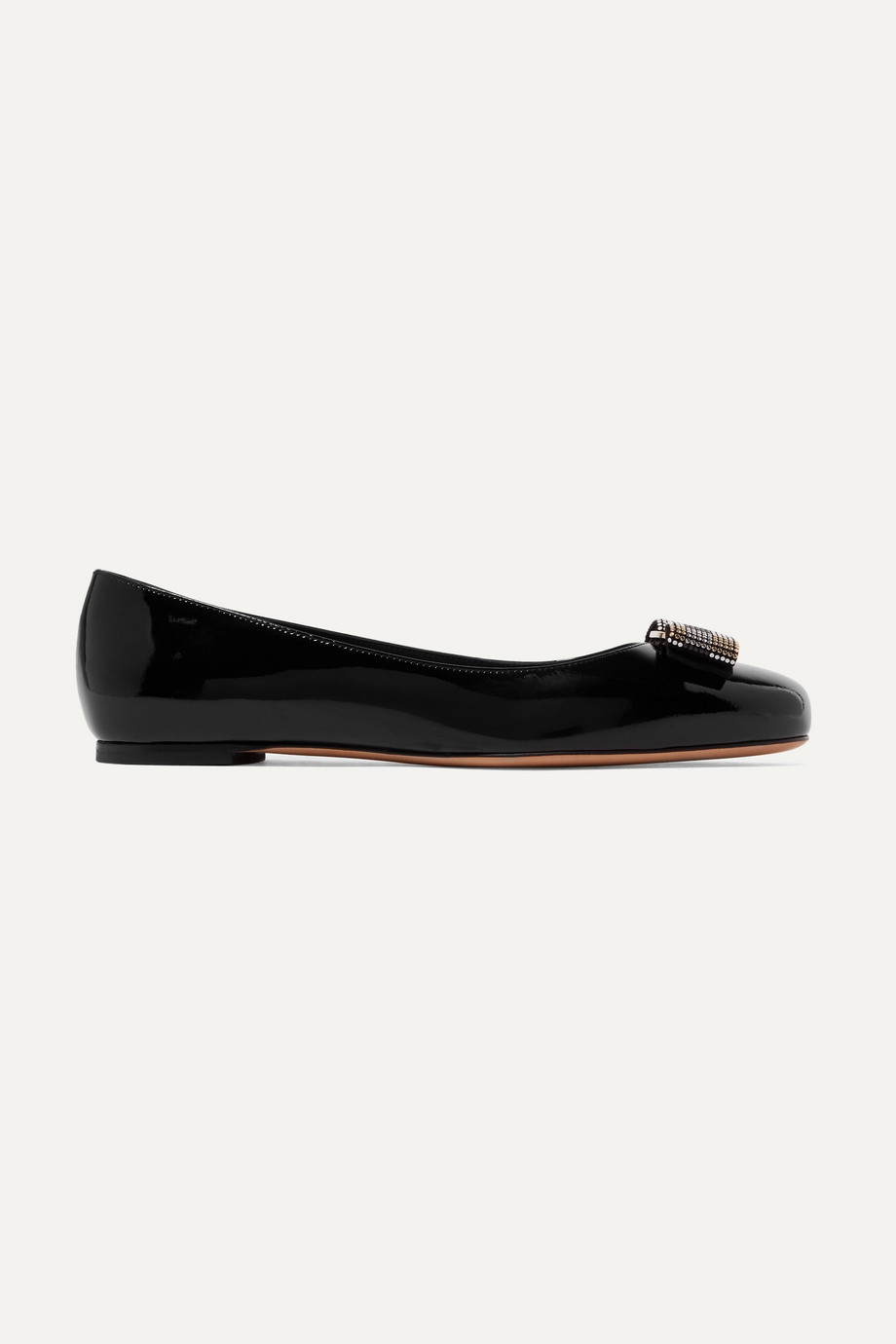 SALVATORE FERRAGAMO Varina studded bow-embellished patent-leather ballet flats