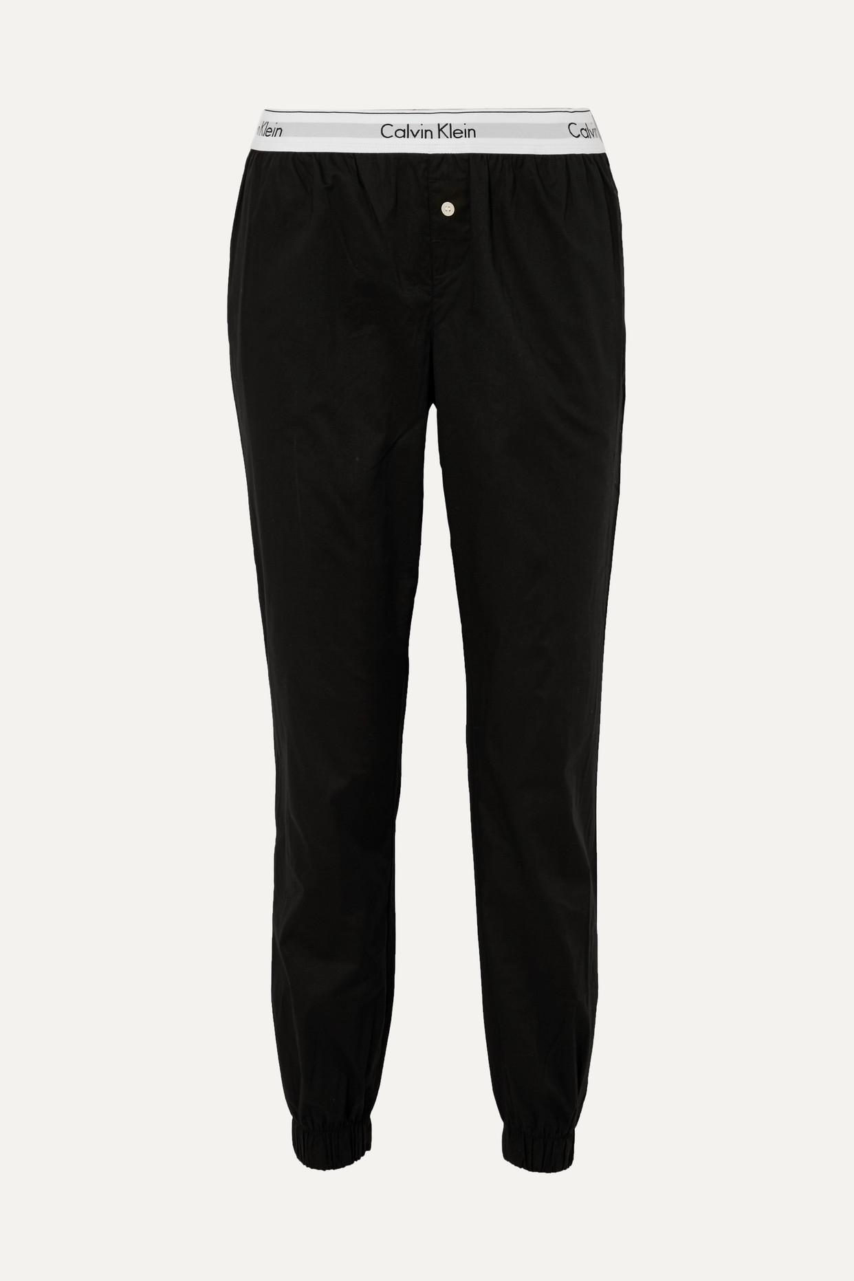 CALVIN KLEIN - Modern Cotton-poplin Track Pants - Black - small