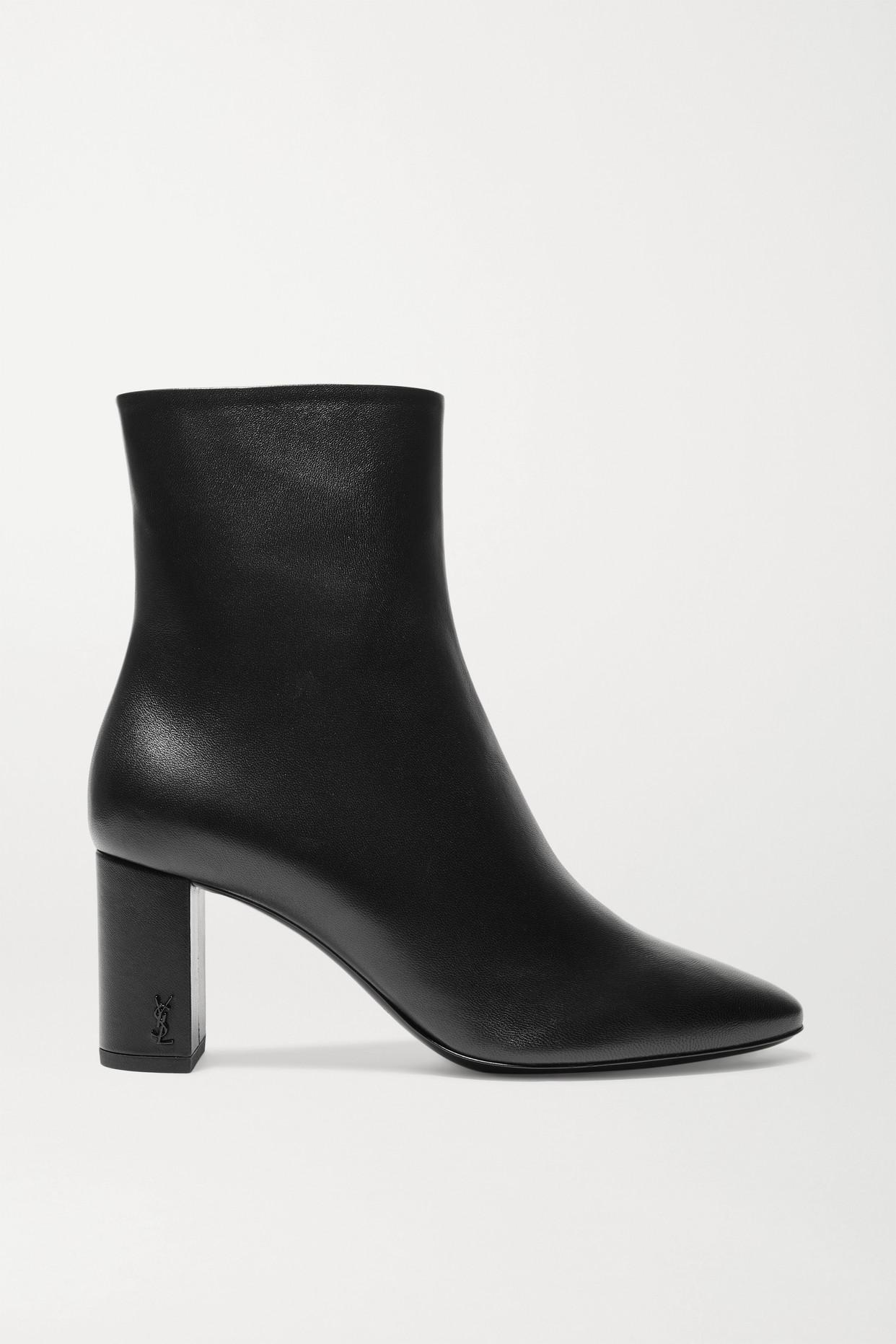 SAINT LAURENT - Lou Leather Ankle Boots - Black - IT37