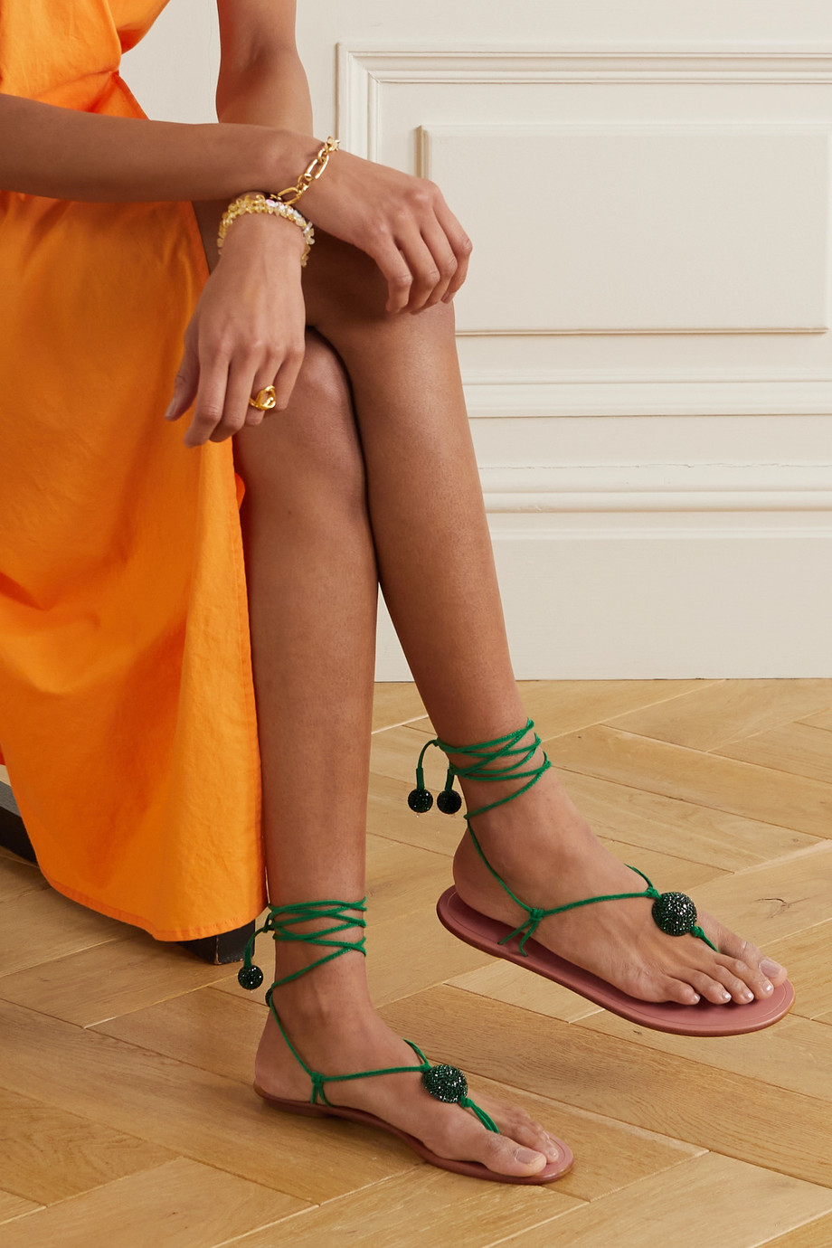 AQUAZZURA Jackie crystal-embellished leather sandals