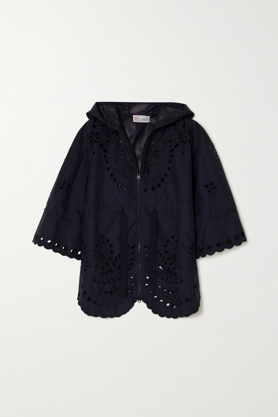 REDVALENTINO Hooded broderie anglaise shell jacket