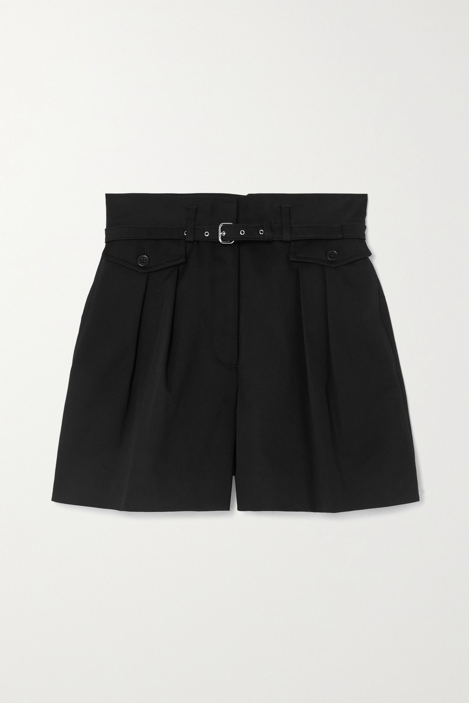 REDVALENTINO Belted pleated stretch-cotton gabardine shorts