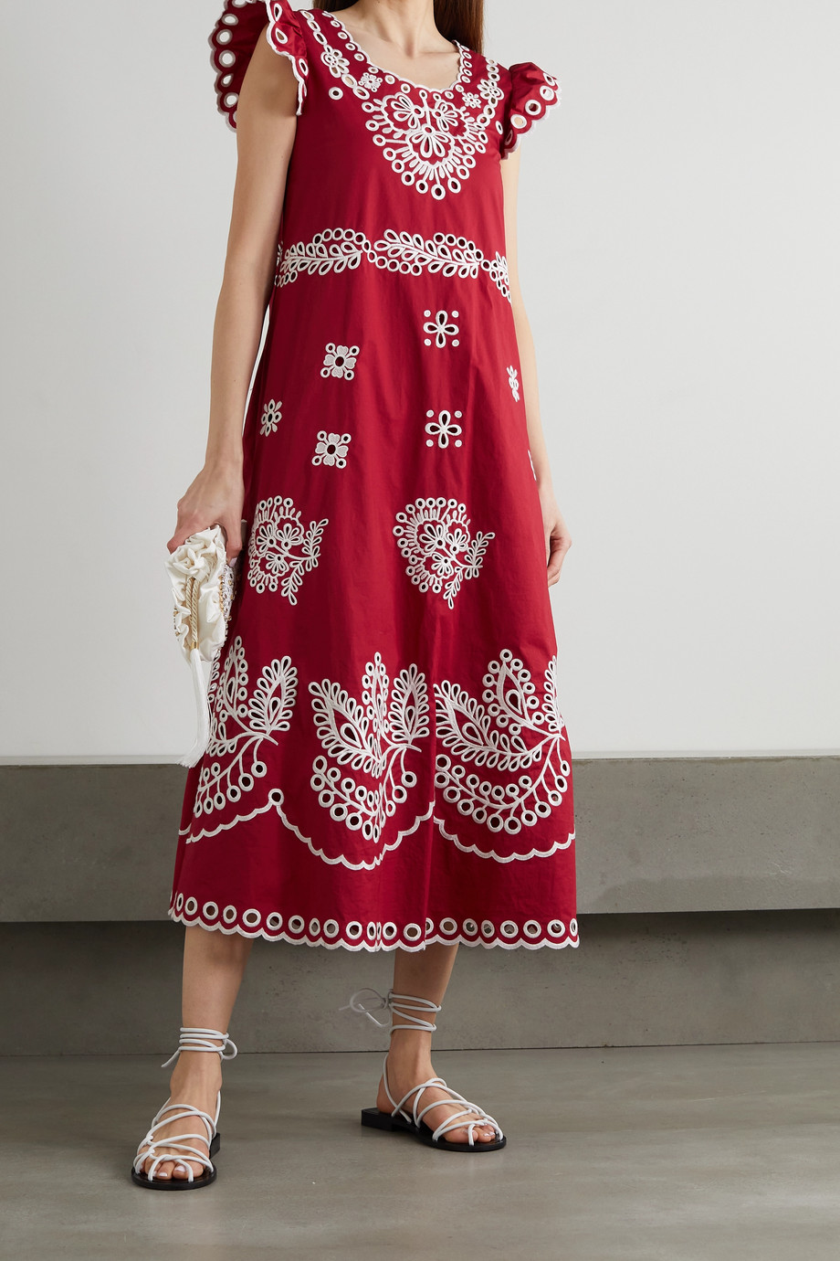 REDVALENTINO Broderie anglaise cotton-poplin midi dress