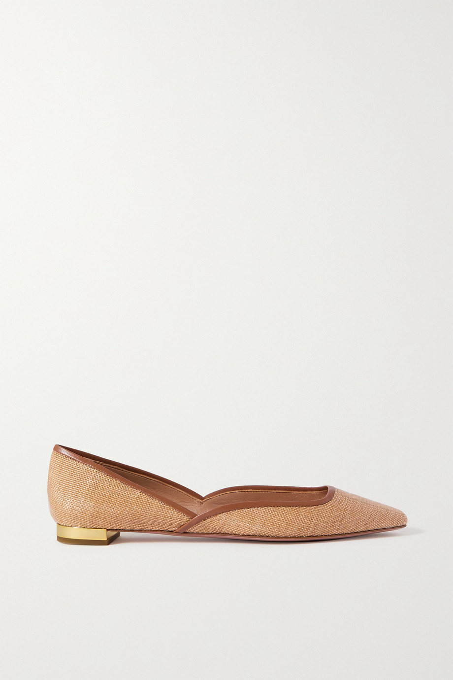 AQUAZZURA Maia leather-trimmed raffia ballet flats