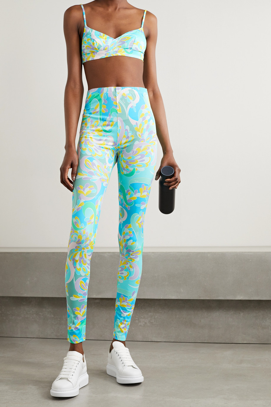 EMILIO PUCCI Printed stretch-ECONYL triangle sports bra
