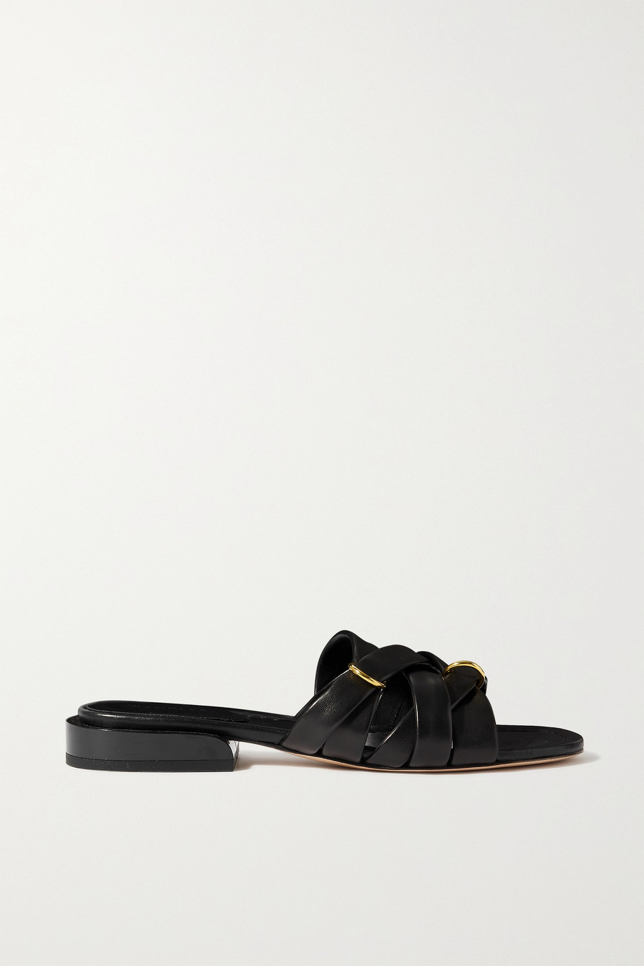 WANDLER Lara buckled woven leather slides