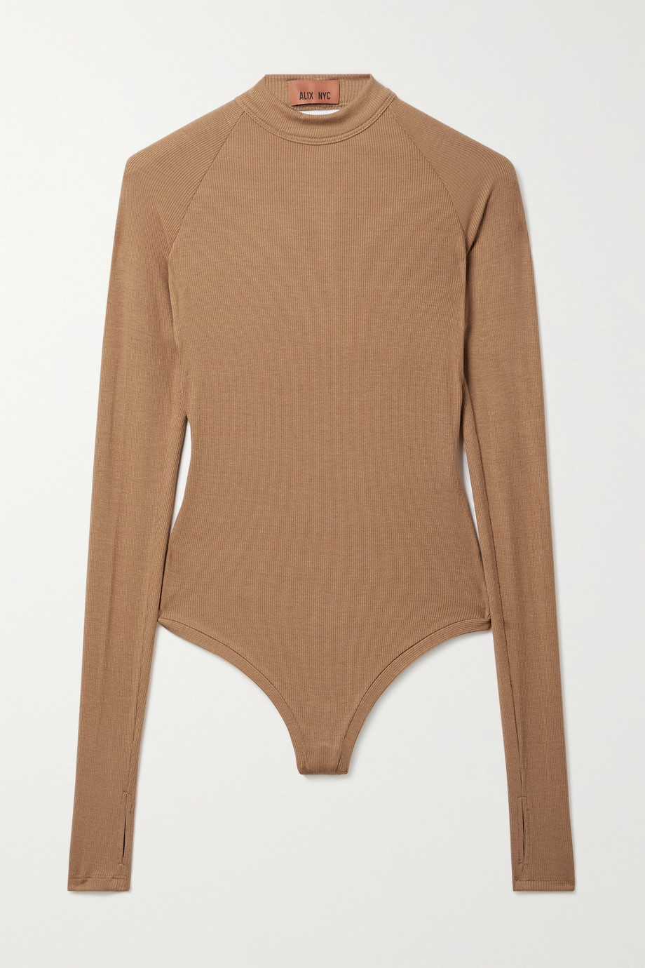 ALIX NYC Ives twist-back ribbed stretch-modal jersey thong bodysuit