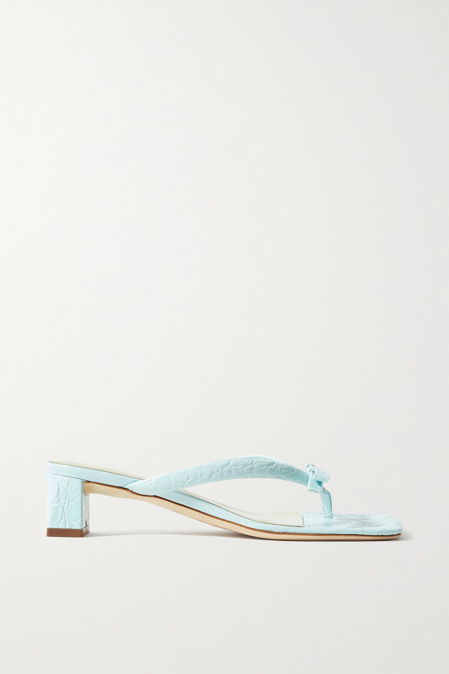BY FAR Bibi bow-embellished croc-effect leather sandals