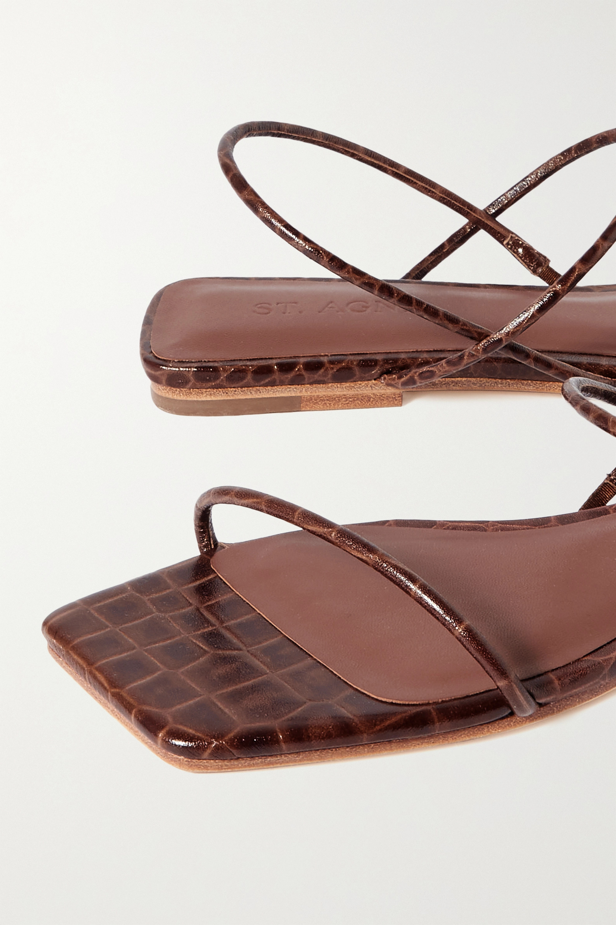 ST. AGNI + NET SUSTAIN Pina croc-effect leather slingback sandals