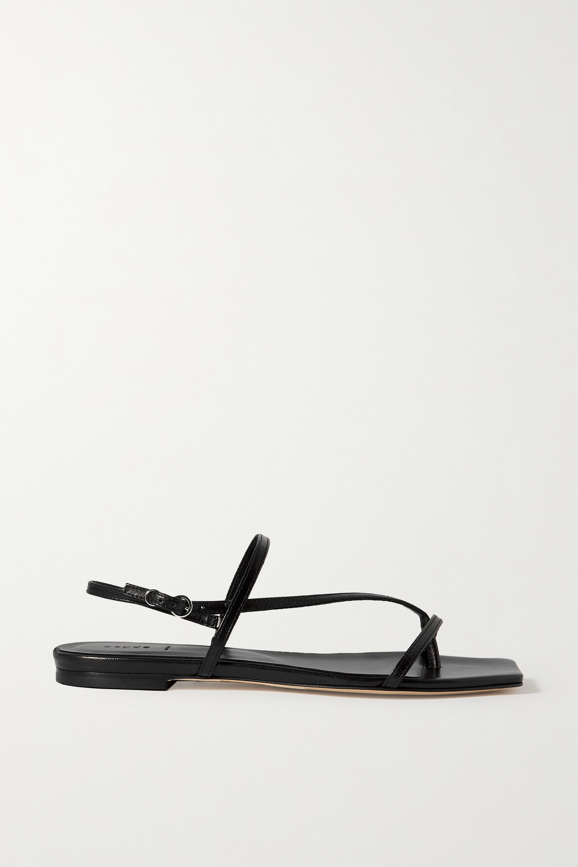 AEYDE Ella glossed-leather slingback sandals