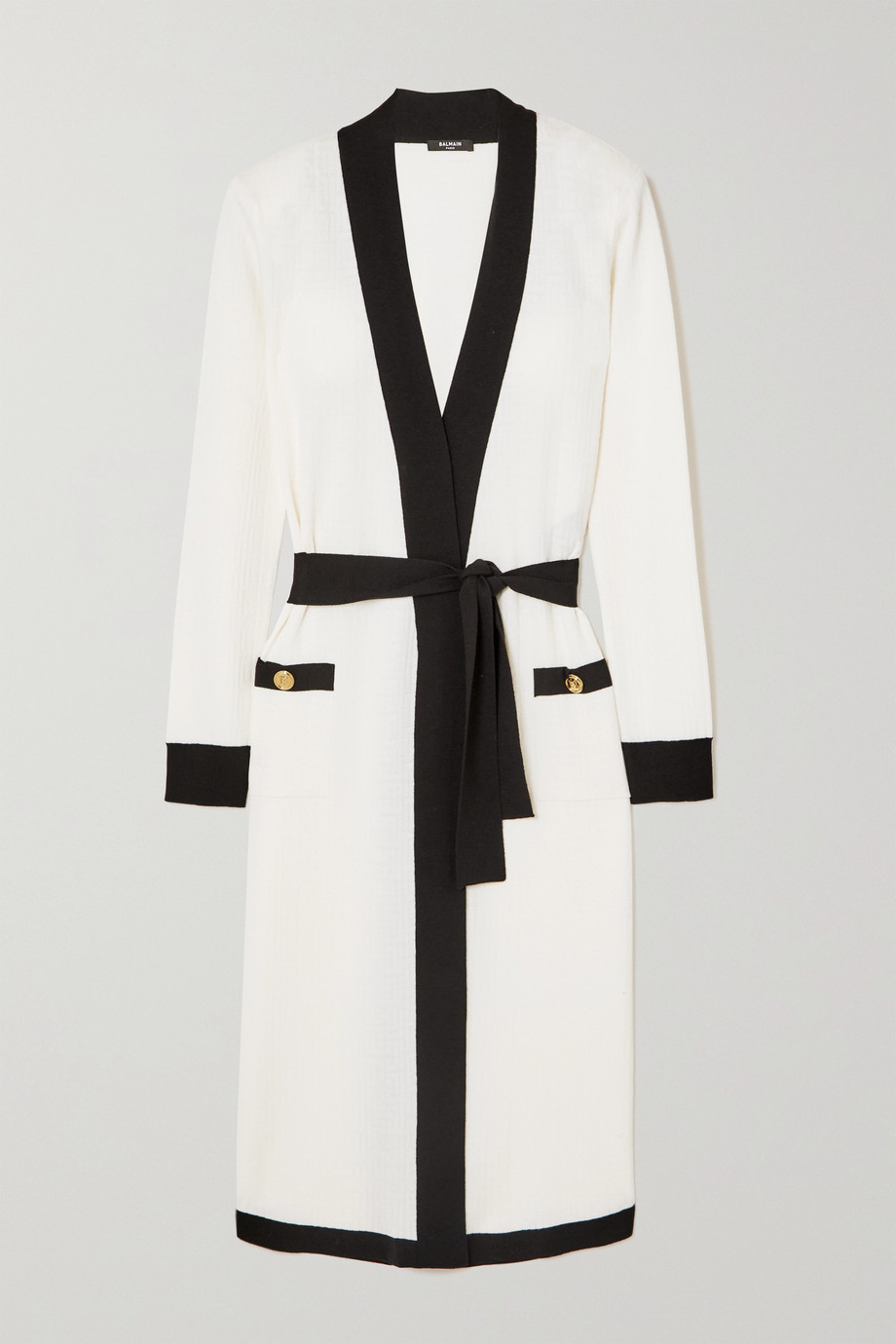 BALMAIN Belted two-tone jacquard-knit wool-blend cardigan