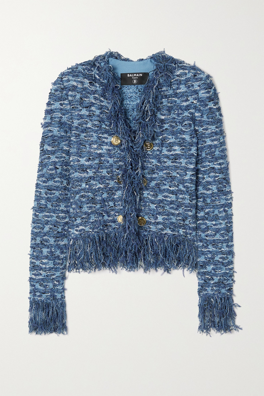 BALMAIN Button-embellished fringed tweed blazer
