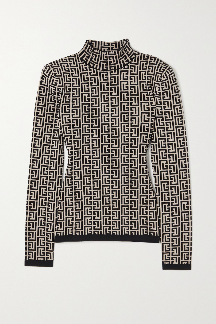 BALMAIN Jacquard-knit turtleneck sweater