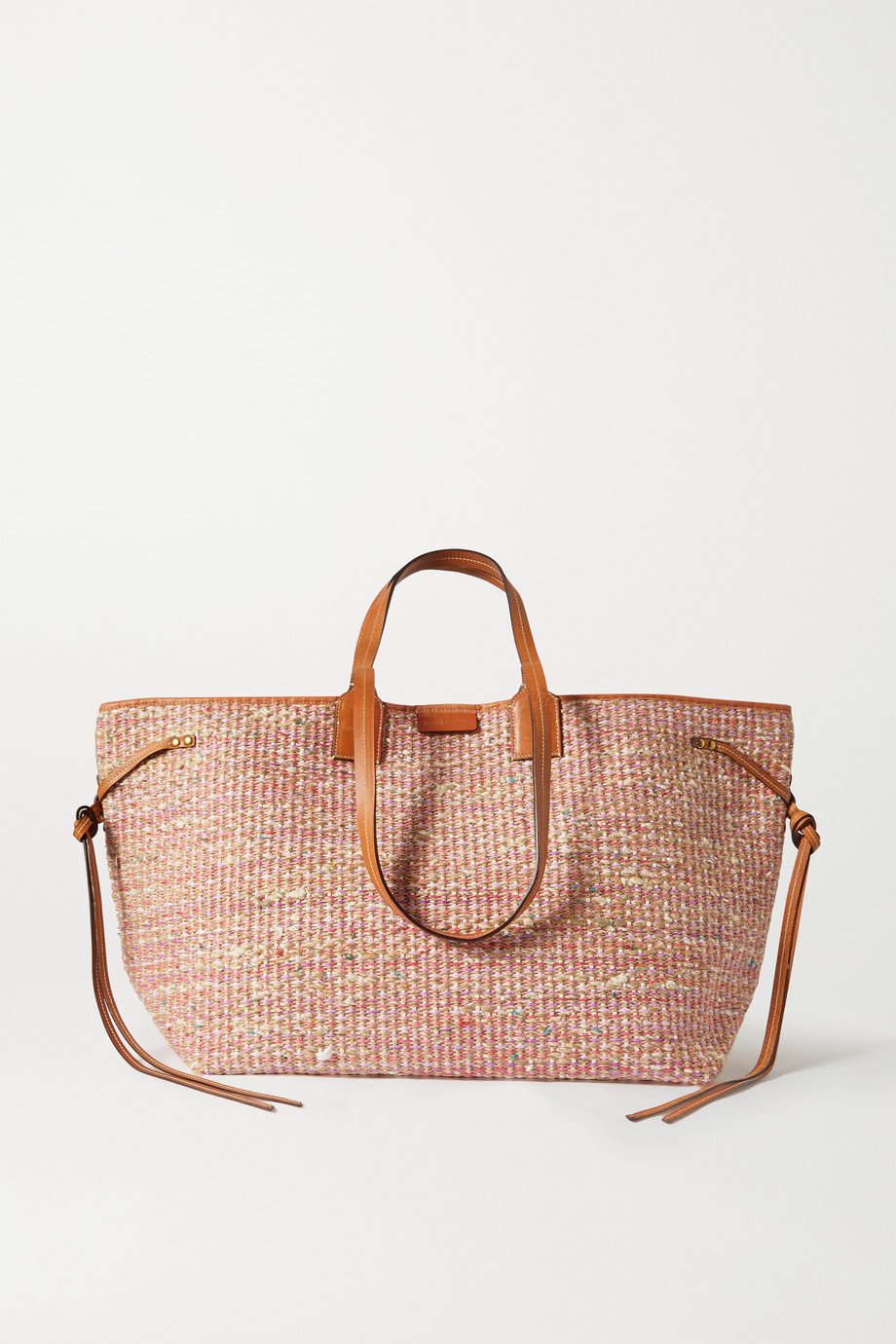 이자벨 마랑 Isabel Marant Wydra leather-trimmed straw tote,Orange