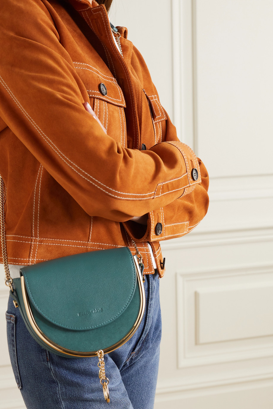 SEE BY CHLOÉ Mara embellished textured-leather and suede shoulder bag
