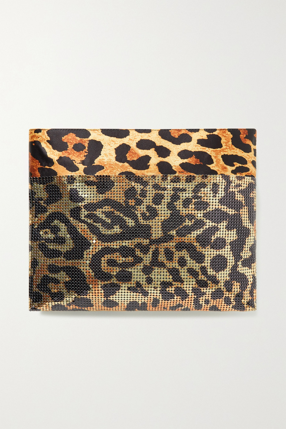 PACO RABANNE Pixel leopard-print satin and chainmail clutch