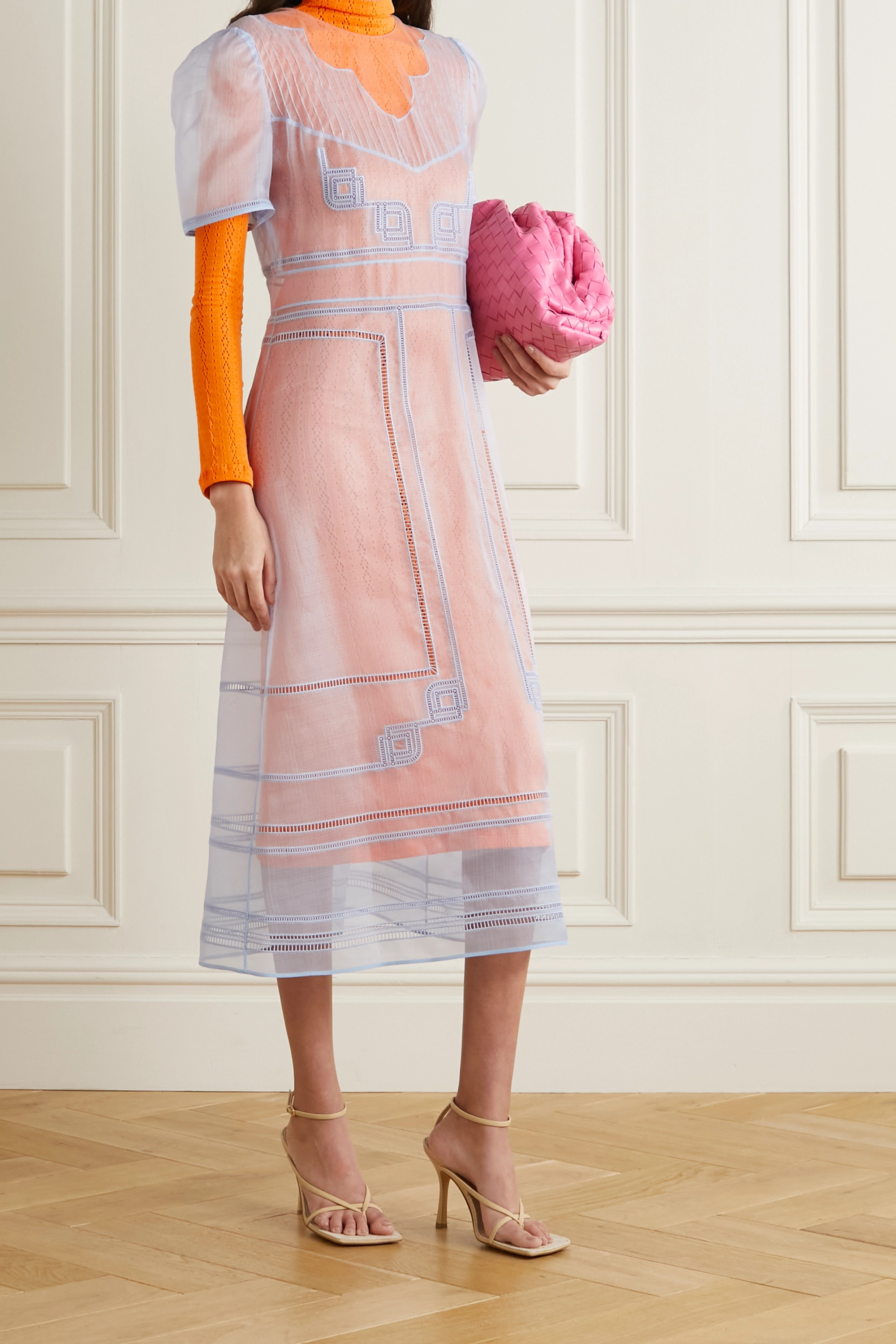 FENDI Layered embroidered silk-organza and pointelle-knit dress