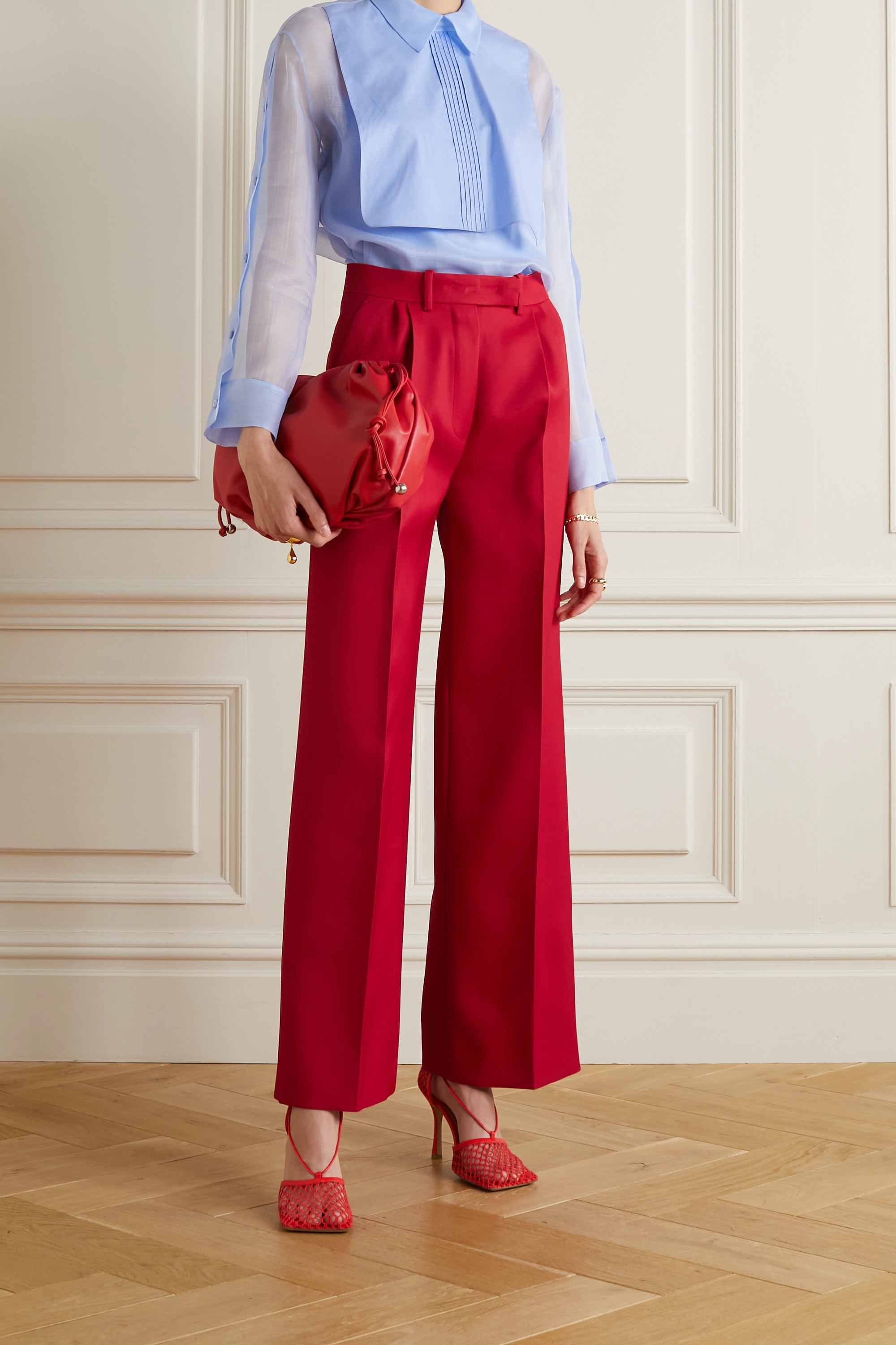 FENDI Grain de poudre wool-blend wide-leg pants